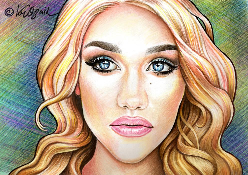 портретная стилизация, рисунок девушки цветными карандашами © Красных Катерина
