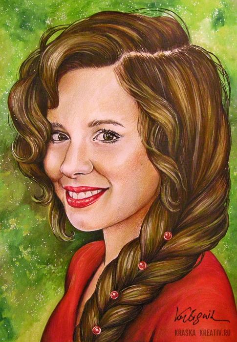 стилизованный женский портрет в смешанной технике © Красных Катерина