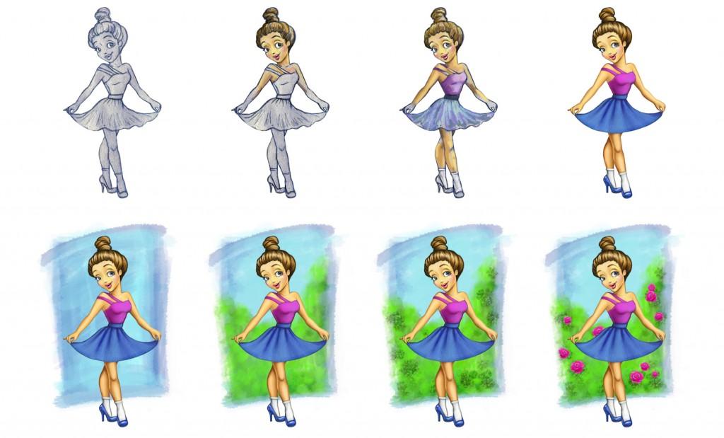 иллюстрация, персонаж (этапы) © Красных Катерина