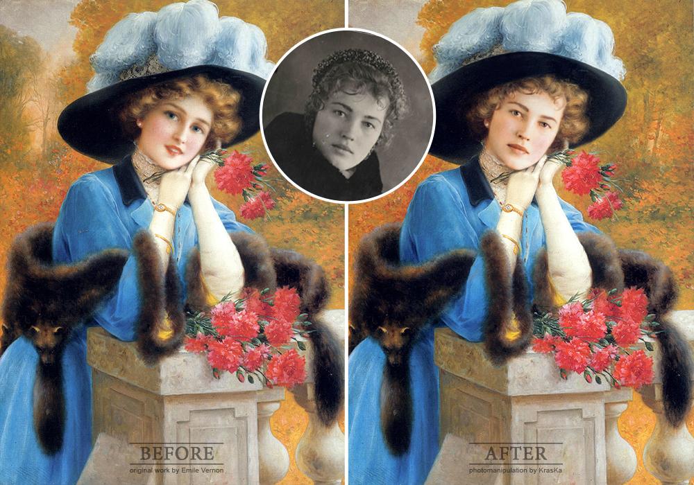 фотомонтаж (замена лица в картине) пример до и после