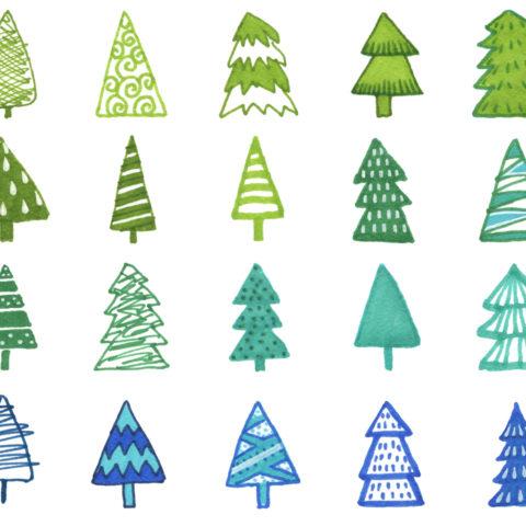 download clipart hand painted christmas trees, скачать клипарт, новогодние деревья, декоративные елочки, набор графических элементов для рождественского и новогоднего дизайна