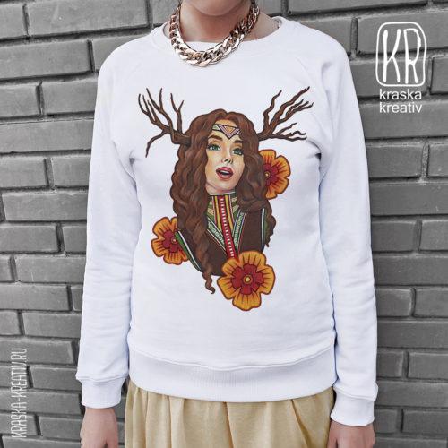 свитшот «в стиле хиппи» с авторским принтом (иллюстрацией) от Красных Катерины