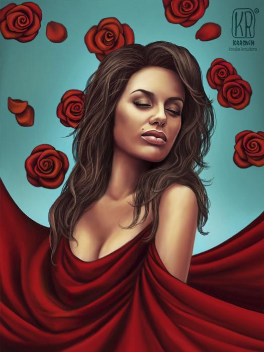 digital art - женщина в красном - Виктория Боня - рисунок / иллюстрация / портрет © Красных Катерина