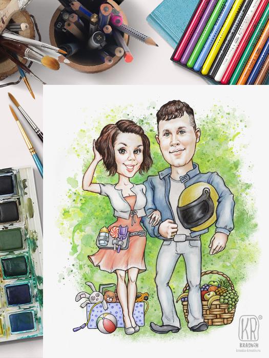 шаржевая иллюстрация в мультяшном стиле - семейный (парный) портрет - © Красных Катерина