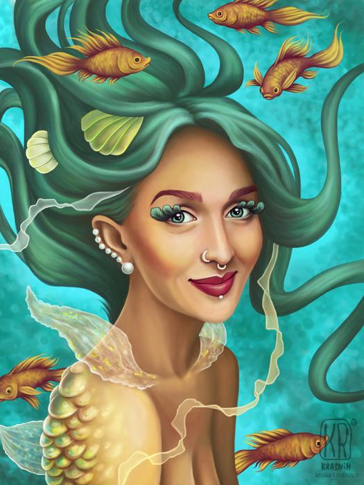 digital art, fantasy girl portrait, illustration