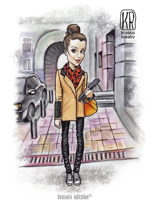 шаржевая иллюстрация, портрет в мультяшном стиле © Красных Катерина