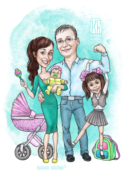 мультяшный семейный портрет, шаржевая иллюстрация на заказ © Krasnih Katerina