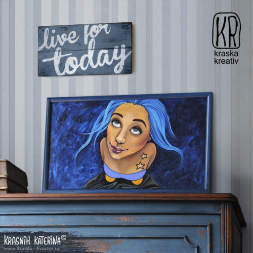 original artwork, acrylic painting dreamer girl, fine art from russia, fine art sale, acrylic cartoon style illustration, selling the original painting with blue hair girl