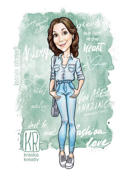 портрет в мультяшном стиле, шаржевая фэшн иллюстрация на заказ © Krasnih Katerina