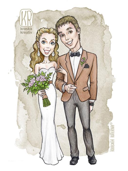 свадебный шарж, свадебная иллюстрация, мультяшный портрет для жениха и невесты © Krasnih Katerina