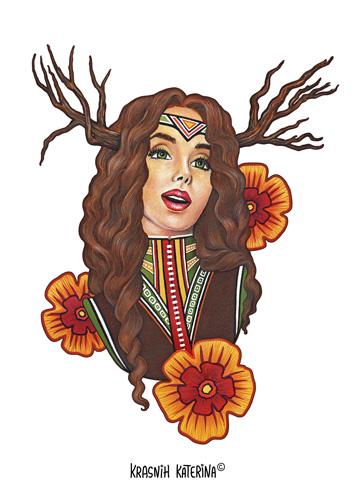 Hippie Stуle by Krasnih Katerina (mixed media on paper)