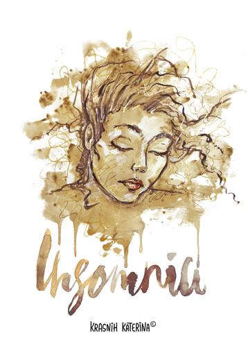Insomnia by Krasnih Katerina (mixed media on paper)