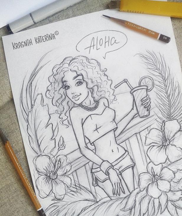 sketch «Aloha» by Krasnih Katerina