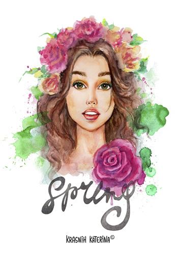 Spring by Krasnih Katerina (watercolor illustration)