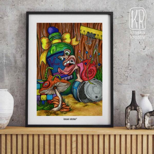 арт-постер с авторской иллюстрацией от Красных Катерины «Bitter Drug» / «Горькое Лекарство»