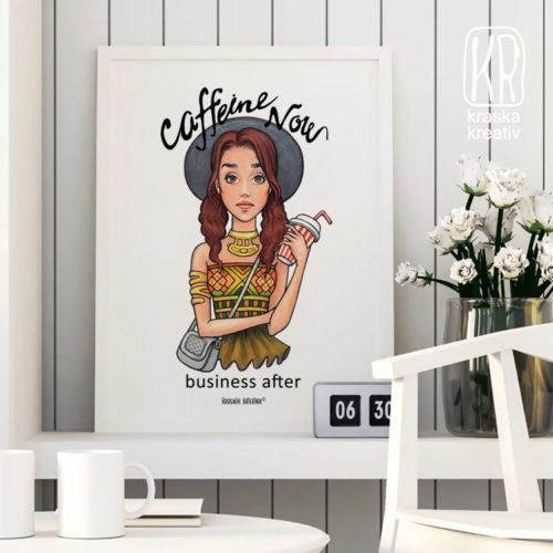 «Кофеин Сейчас, Дела Потом» - иллюстрация от Красных Катерины