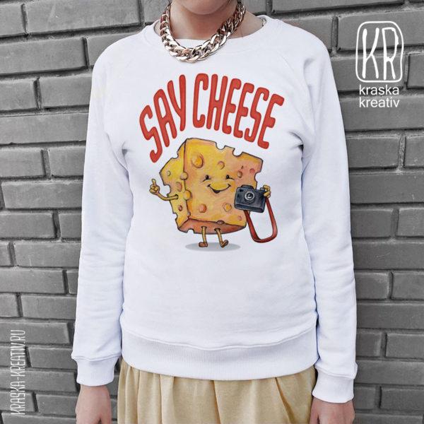 стильный свитшот «Say Cheese» с авторским принтом от Красных Катерины