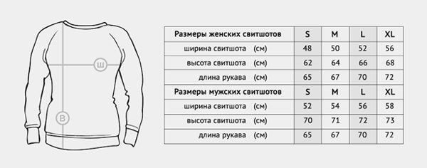 свитшоты с авторскими принтами (таблица размеров)