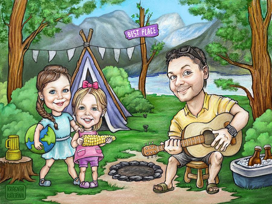семейный мультяшный портрет, шаржевая иллюстрация © Krasnih Katerina