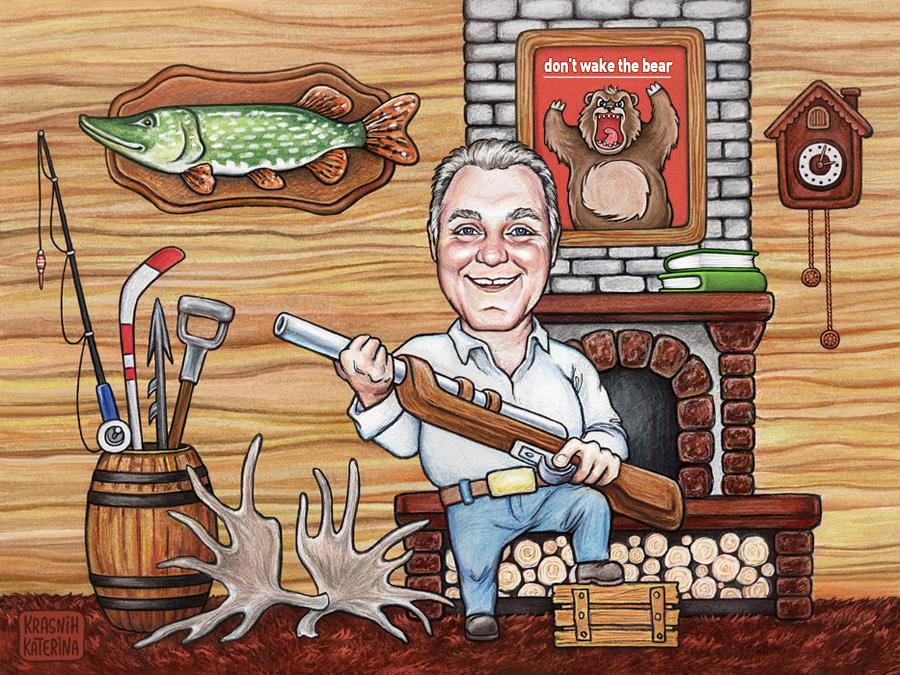 прикольный мультяшный портрет охотника, индивидуальная сюжетная иллюстрация в мультяшном стиле на тему охоты и рыбалки © Krasnih Katerina
