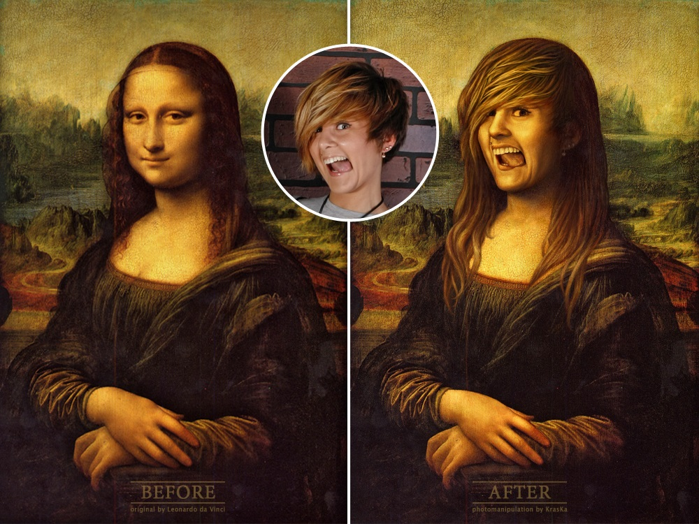фотомонтаж с репродукцией картины Леонардо да Винчи, пример до и после, замена лица в картине Мона Лиза