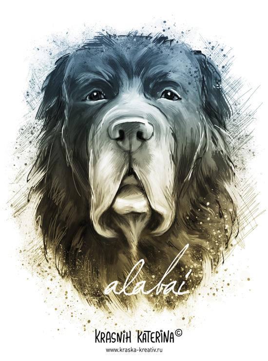 digital illustration - alabai dog - by Krasnih Katerina