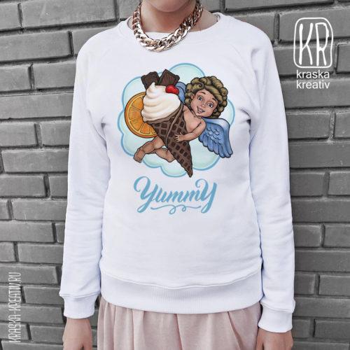 стильный свитшот с авторским принтоми «Sweet Angel» - художник/иллюстратор: Красных Катерина