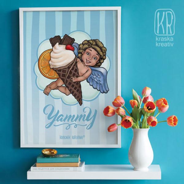 арт-принт (постер) с ангелом, художник-иллюстратор: Красных Катерина