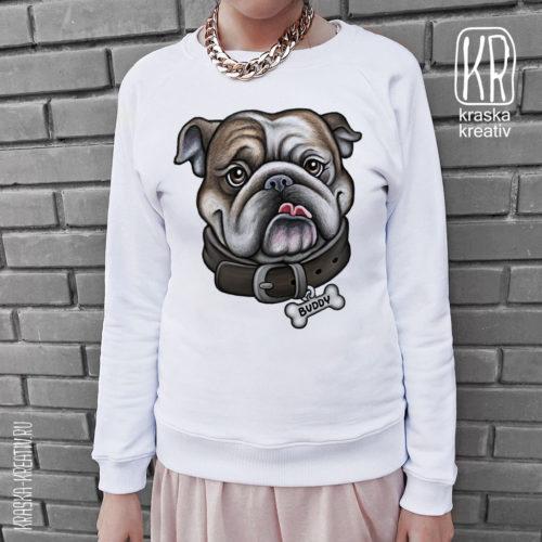 свитшот с бульдогом «Cool Dog Bulldog» - design by Krasnih Katerina