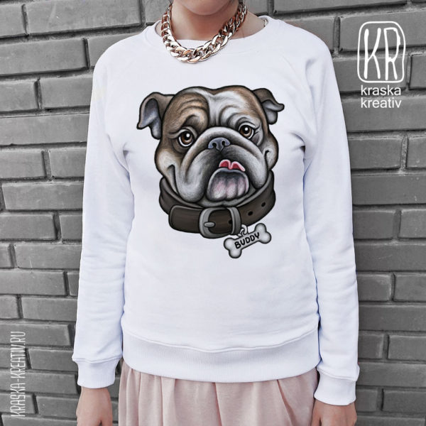 свитшот с бульдогом «Cool Dog Bulldog» - design by Krasnih Katerina