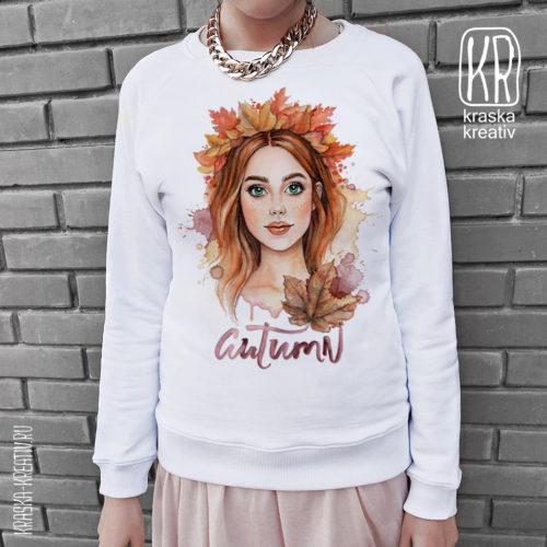 красивый женский свитшот с осенним принтом - design by Krasnih Katerina