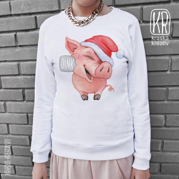 свитшот с новогодним принтом - хрюшка, свинка, поросенок - иллюстрация by Krasnih Katerina