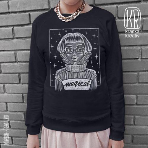 черный свитшот c белым рисунком - design by Krasnih Katerina
