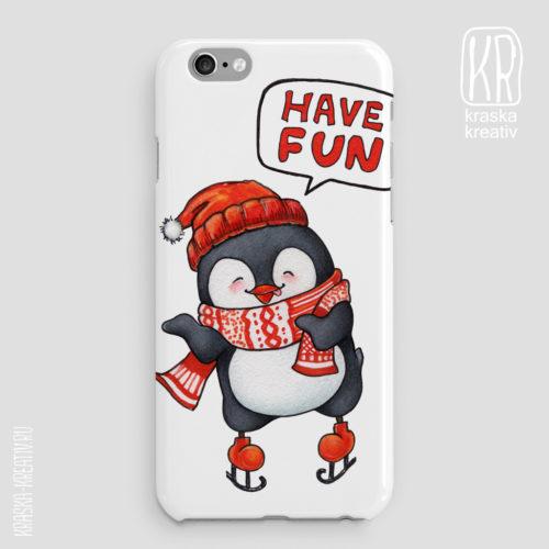 чехол с забавным и милым пингвином, прикольные подарки на новый год и рожество