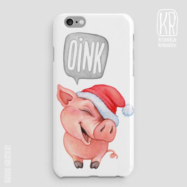 прикольный чехол с новогодней свинкой, подарки с символом нового года свиньи
