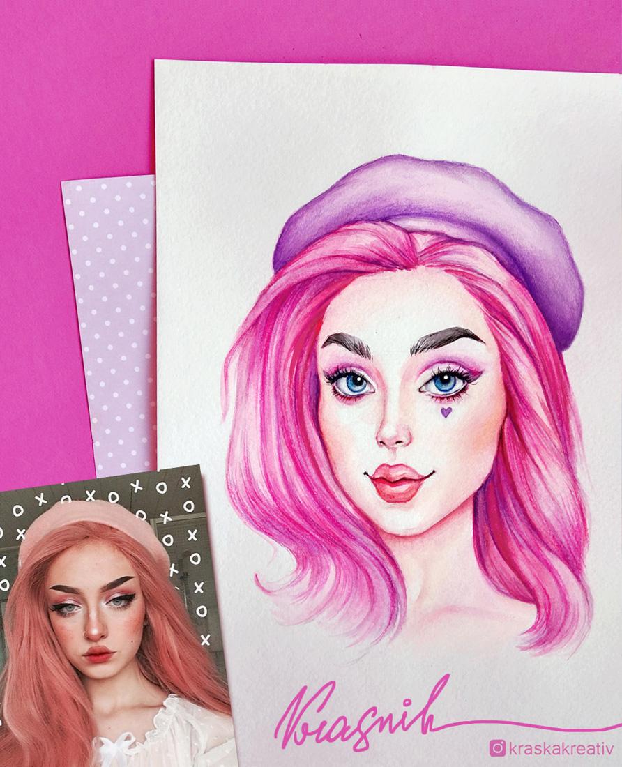 портретная иллюстрация, стилизованный мультяшный портрет по фото, doll style portrait by Krasnih Katerina