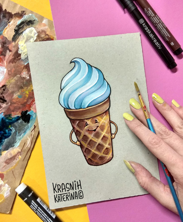 hand drawing funny ice cream, character design illustration by Krasnih Katerina