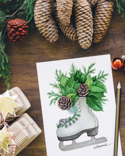 winter watercolor illustration by @kraskakreativ