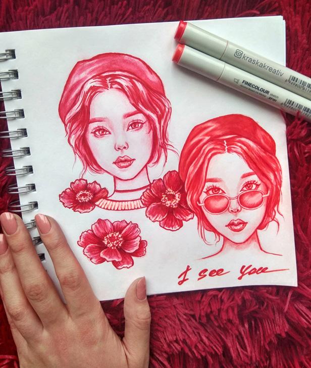 hand fashion sketch drawing, illustration by Krasnih Katerina