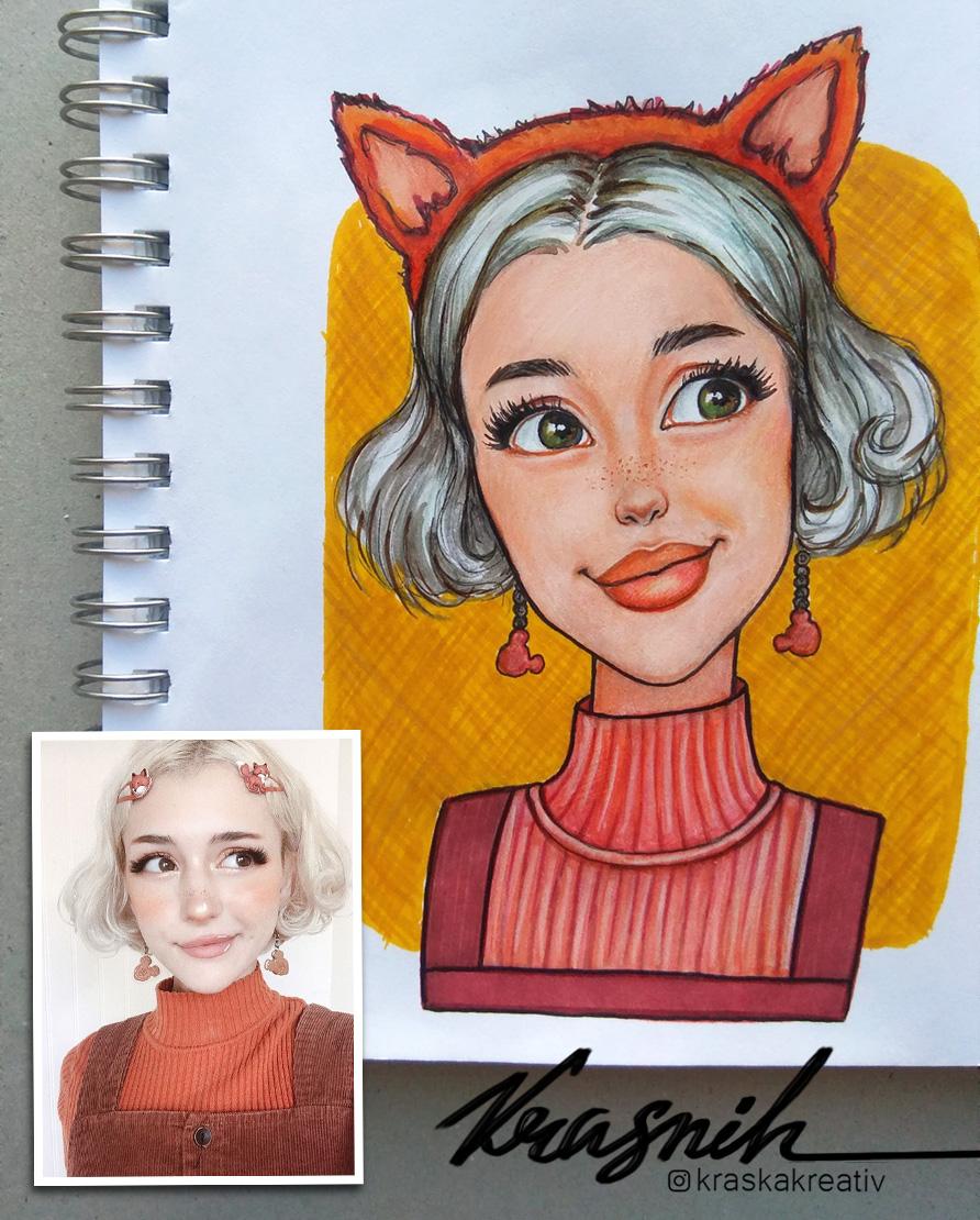стилизованный мультяшный скетч-портрет, cartoon doll style portrait illustration by Krasnih Katerina