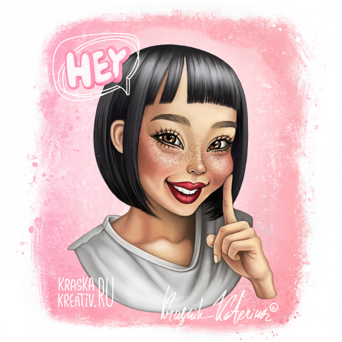 cartoon portrait illustration by Krasnih Katerina