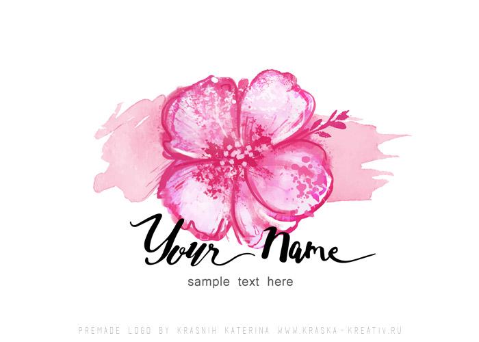 купить готовый лого, премейд логотип с розовым цветком, брендинг, ребрендинг, дизайн с персонализацией