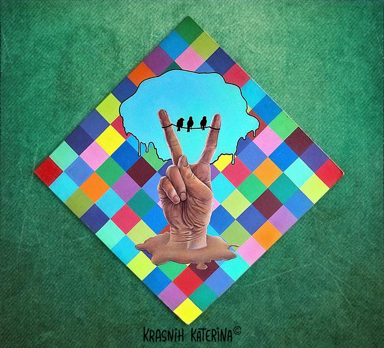 поп-арт картина / декоративное панно/ современная живопись © Krasnih Katerina