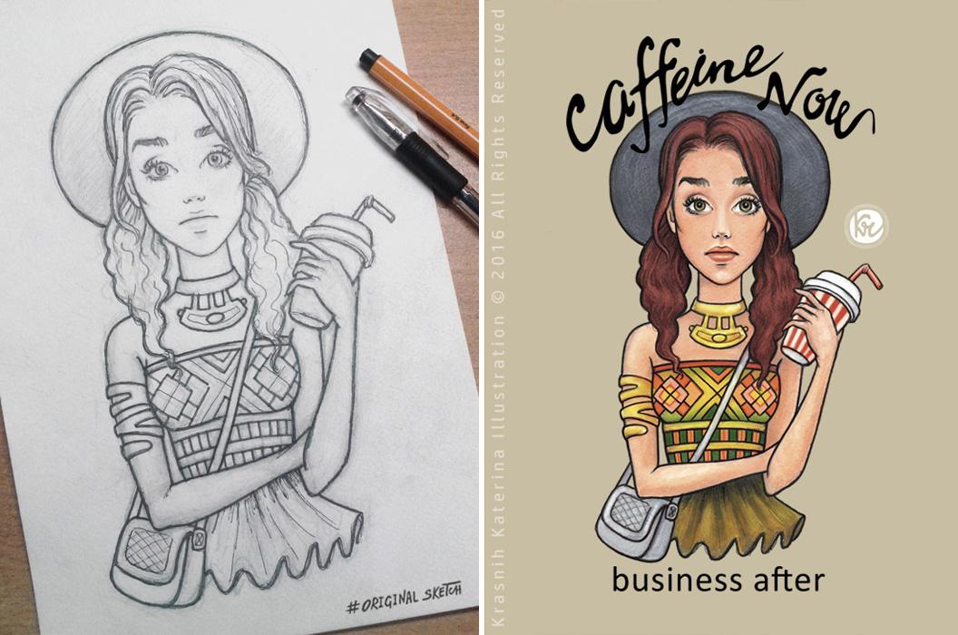 Caffeine Now Bussiness After The Art Of Kranih Katerina @kraskakreativ illustration