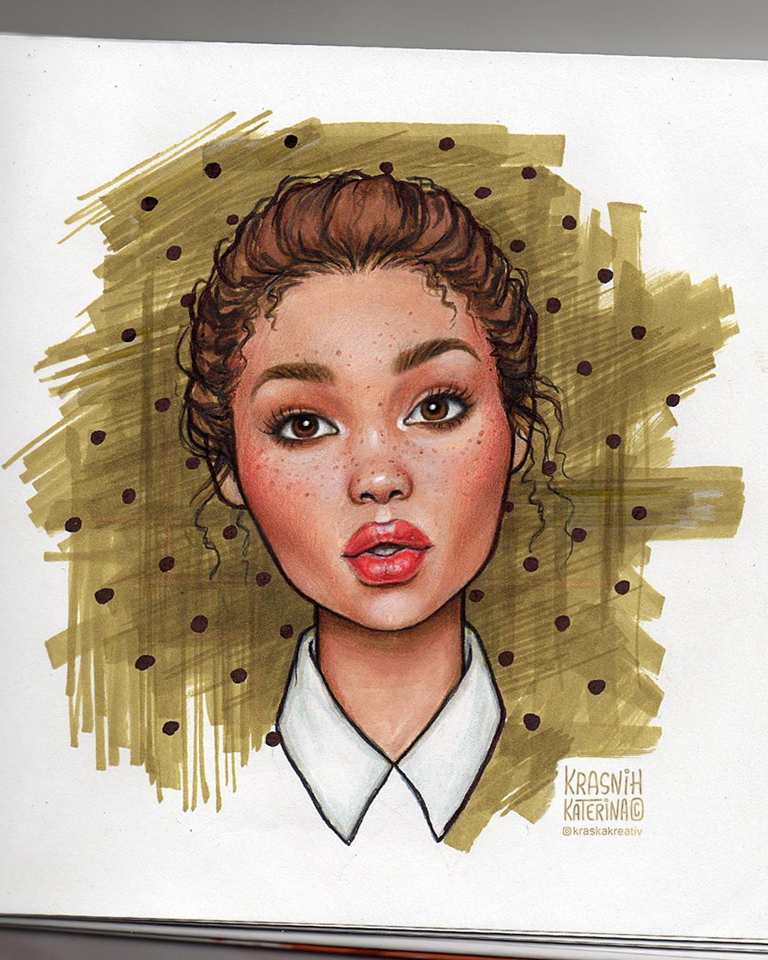 портретная иллюстрация в мультяшном стиле