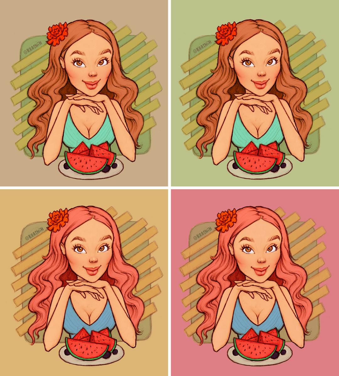 illustartion girl with watermelon by Krasnih Katerina