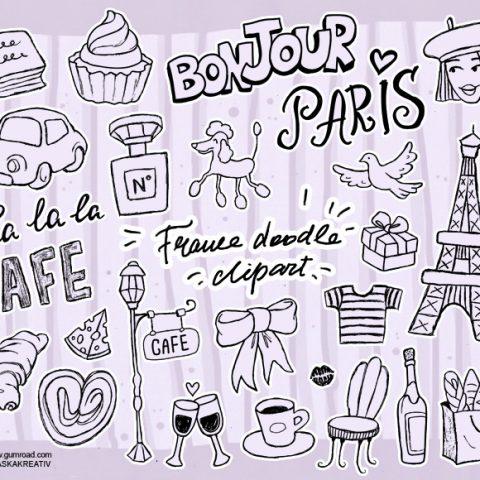 France Paris Doodle Clipart Graphic Illustration Lettering Париж Франция Клипарт Скачать Элементы Графический Дизайн Набор Line Art