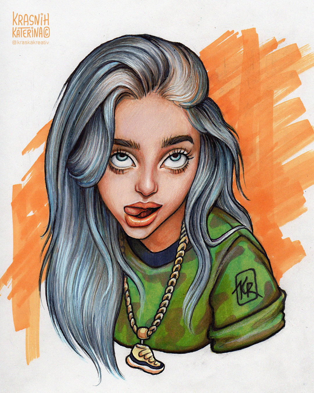 cartoon style portrait Billie Eilish fine art drawing illustration by Krasnih Katerina