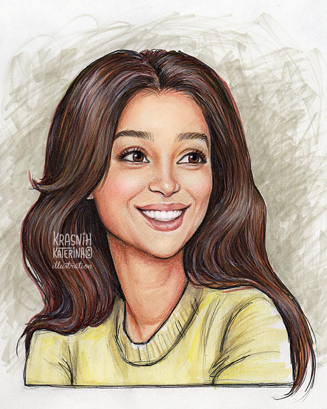 стилизованный портрет мультяшный образ индивидуальная портретная иллюстрация в мультяшном стиле рисунок девушки Равшана Куркова арт