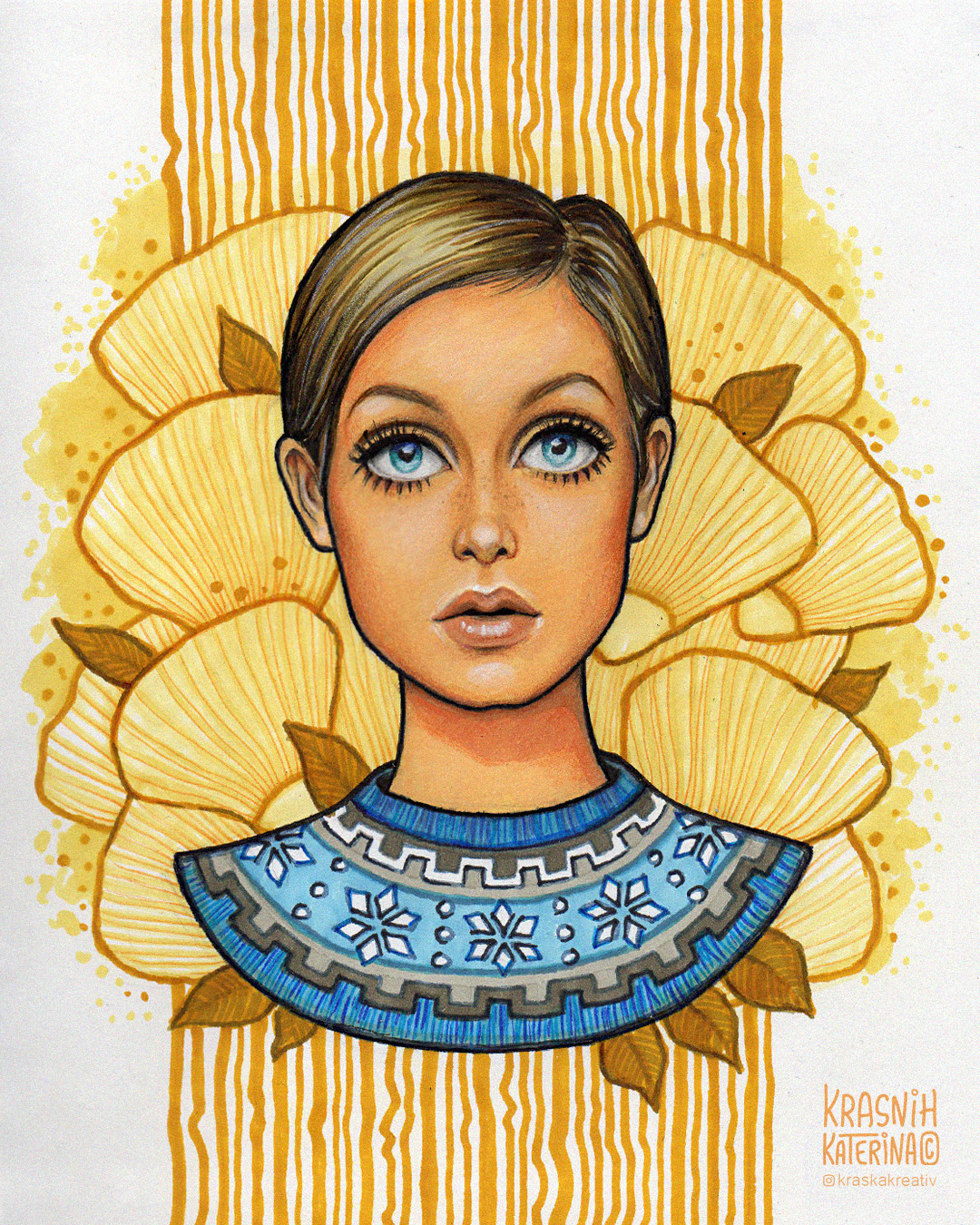 Twiggy cartoon style fine art portrait mixed media illustration by Krasnih Katerina